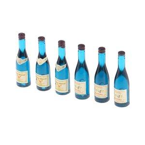 1/12 Bouteilles de vin miniatures maison de poupées Accessoires de cuisine - Mini Poupées Maison Salon Accessoires Bière Boisson Bouteilles 6pcs