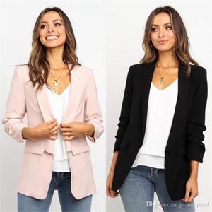Mujeres chaqueta del diseñador otoño moda casual color sólido Manga larga del collar del soporte de la chaqueta para mujer abrigos Traje Formal