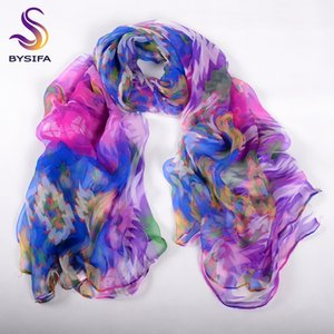 [BYSIFA] Purple Blue Ladies Soie Echarpe Châle Nouveaux Accessoires De Mode Conception Géométrique Grand Long Écharpes Wraps Pour Printemps Automne