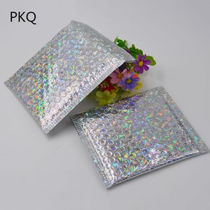 50pcs 2Size Laser Silver Packaging Shipping Bubble Mailer Aluminum Foil Plastic Padded Envelope Gift Bag Mailing Envelope Bag