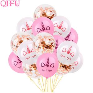 QIFU 15 Adet 12 inç Gül Altın Konfeti Balon Lateks Unicorn Parti Dekor Düğün Olay Hava Balon Doğum Günü Partisi Süslemeleri çocuklar