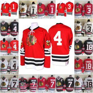 Homens Chicago Blackhawks Bobby Orr Jerseys 1 Glenn Hall 3 Pierre Pilote 7 Chris Chelios 18 Denis Savard Blackhawks hóquei Jersey