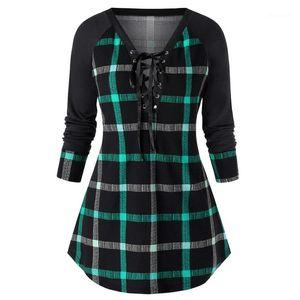 Camiseta casual con paneles de tela escocesa larga impresa con mangas de cuello V Tops para mujer ropa de moda para mujer diseñador del tamaño extra grande