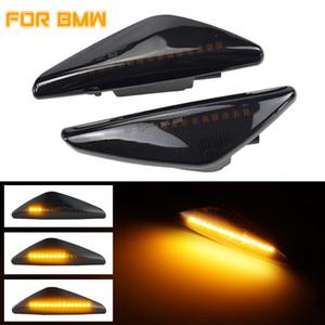 2PCS LED الحيوي الضوء بدوره إشارة الجانبية الحاجز ماركر مصباح متسلسل المؤشر الضوء على BMW X3 F25 X5 E70 E71 E72 X6 2007-2014