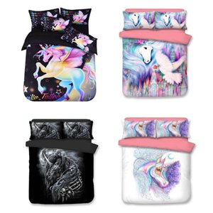 3pcs / Set Unicorn letto di lusso del fumetto Cartoon copriletti Copripiumini Kit Case Cover + cuscino Quilt Cover 5 disegni XD21679