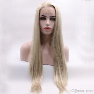 Blonde synthetische Spitze-Front Perücken Mischfarbe Freier Teil Glueless synthetische Faser-Haar lange gerade blonde Perücke Lacefront für weiße Frauen