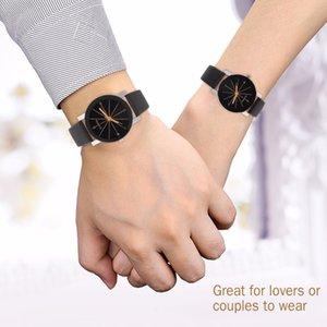 Kadınlar Kuvars Saatler Relogio Masculinos Moda Zaman Erkekler Saat Deri Elbise Yuvarlak Kılıf Saat Aşıklar İzle Bayan Kol Saat'in Dial