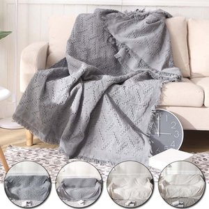 Full Cover Non-Slip Sofa Knitted Blanket Simple Style Cotton Thread Sofa Cover Protective Bedspread Casual Wall Tapestry
