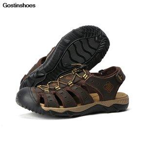 Sandálias De Playa Sandália Pria couro genuíno couro de grão completo Casual qualidade sapatos Homens Sandalia Cow Sandálias Playa