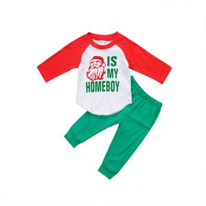 New Xmas Toddler Kids Boy Clothes Set Santa Tops T-shirt Pants 2pcs Outfits Set Clothes 1-6t