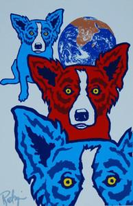George Rodrigue Blue Dog Entre My Good Chincha Home Décor peint à la main HD Imprimer Peinture à l'huile sur toile mur toile Photos 200116
