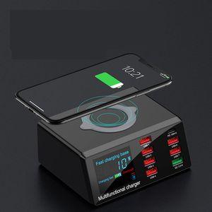 100W 8 Ports USB Schnelle Wireless-Ladegerät für IPhone QC 3.0 Quick Charge mit PD-Funktion Ladegerät EU / US / UK / AU Stecker