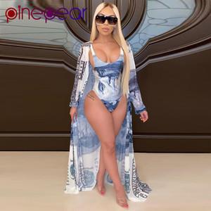 PinePear Yaz Moda Tasarımı Kadınlar İki Adet Kıyafetler Para Tam Kol Uzun Coats 2 adet Bodysuits Plaj Seti Toptan T200623 yazdır