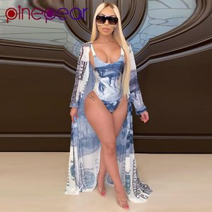 Pinepear Summer Fashion Design Donne Due persone Abiti da due pezzi Stampa di denaro Manica Piena Cappotti lunghi 2 pezzi Bodysuits Beach Set all'ingrosso T200623