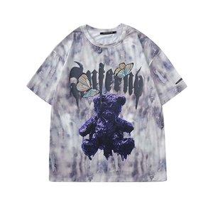 UNCLEDONJM Hip Hop-Bär Krawatten-T-Shirt Mann-beiläufige Baumwolle Kurzarm 2020 Harajuku Fashion Street Male Tops Tees FR-E20