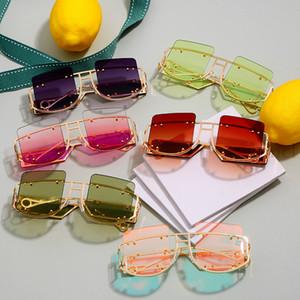 Luxo Retro Frameless Hip Hop óculos de sol das mulheres dos homens Brand Design metal pequeno quadro do partido da menina óculos de sol UV400 2019 New Hot NX