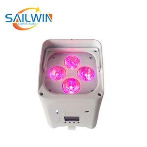 Batería de litio de China Etapa de luz UV 4x18W 6en1 RGBAW Operado Wireless Mobile App MINI DJ LED PAR LED para el evento del club del partido