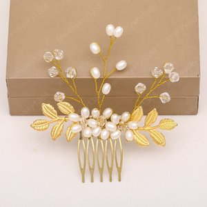 Luxury Handmade Imitation Pearl Hair Comb Gold Color Leaves Shape Women Hair Clip Bride Wedding Hair Jewelry Accessories