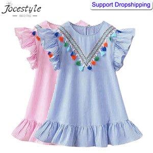 Summer Baby Girls Dress Tassel Flying Sleeve Robes Stripe Mignon Robes De Soirée Enfants pour Enfants filles Princesse Robe Tops Vêtements SH190916