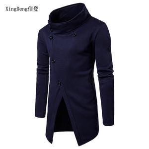 XingDeng Siyah Hoodie Kazak düğmeleri düzensiz HipHop Sokak tarzı Erkekler Uzun kollu moda rahat bahar sonbahar üst giyim