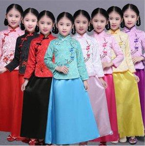 Древнекитайской Леди одежда Детская династии Тан принцесса костюм Hanfu Cosplay Halloween Party одежда Top + платье