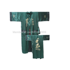 Green Black Chinese Men Reversible Silk Robe Embroidery Kimono Bathrobe Gown Two-side Nightwear With Dragon One Size