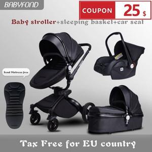 Envío rápido ! lujo 3 en 1 bebé cochecito de aluminio de aleación de cuero del bebé cochecito de niño de dos vías de choque carro de bebé con regalos paraguas CJ191115