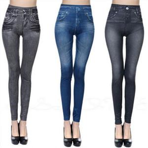 Jessingshow Fashion Slim Women Leggings Faux Denim Pants Leggins Sexy Long Pocket Casual Pencil Pants Push Up Elastic Jeggings
