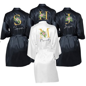 Wedding Dressing Gown Personalised Names BRIDE&Bridesmaid Satin Custom Robes for Gifts Mother of Bride Groom Squad Sleepingwear CX200703