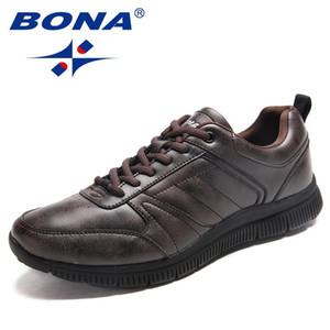 BONA nueva llegada popular del estilo de los hombres de los zapatos ocasionales con cordones planos de los hombres de microfibra de los hombres Zapatos de luz suave cómoda libre rápido