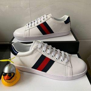Melhores Qualidade azul Red Stripe verde novo designer Sapatos abelhas brancas ACE Mens bordado couro real Designer Sneaker Mulheres Casual Shoes