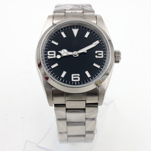 Luxury mens watch EXP II style 36mm black dial automatic movement high quality stainless steel mirror original folding buckl