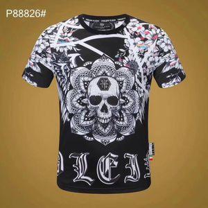 Erkek Giyim yaz Kısa Kollu Mürettebat Boyun Fitness İçin toptan Tasarımcı Erkek Marka T-shirt Kafatası Heade Phillipp tişörtler Soğuk