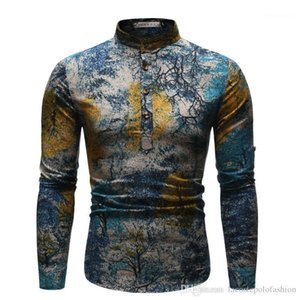 Gömlek Yıldızlı Gece Homme Etnik Stiller Mens Tops Erkek Casual Giyim Yağ Styles Boyama yazdır