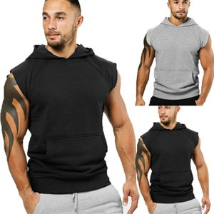 Pure Color Mens Gym singlet Sweat-shirts manches Muscle Gym Sport Slim Débardeur Gilet Homme Fitness culturisme Hoodies