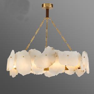 Mármol nuevo estilo americano de cobre Lámpara de lujo Sala de estar LED lámparas modernas natural Comedor lámpara decorativa MYY