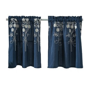 Embroidery Short Curtain Blackout For Kitchen Cafe Drapes Bedroom Bathroom Window Decoration Super Soft