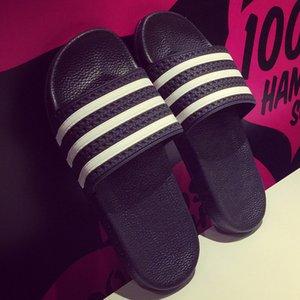Yeni Unisex Yeni Moda Erkek Ayakkabı Yaz Terlik Plaj Erkekler Terlik Kadınlar Casual Terlik Aşıklar Üç Çizgili Ou