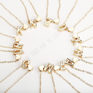 26 Intiele Brief Alphabet Herz Anhänger Halskette Für Frauen Gold Farbe A-Z Alphabet Halskette Kette Modeschmuck Geschenk