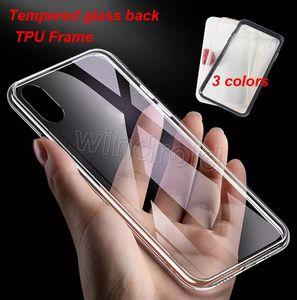 Temperli Cam Geri Temizle Şeffaf Kılıf iphone X XR XS Max i7 i8 artı 3 renkler TPU Çerçeve Kapak Geri Koruyucu hiçbir çizik yok sarı