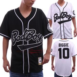 Erkekler Badboy Jersey 10 Biggie Film versiyonu Beyzbol Formalar Renk Beyaz Boyut S-3XL Gerileme Formalar