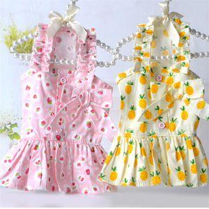 Fruit bonito posters Verão filhote de cachorro Cat Dog Dress Saia Yorkshire Pomeranian Poodle Bichon Schnauzer roupas para cachorros Princesa Vestuário