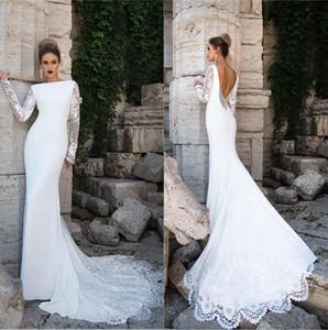 Elegante maniche lunghe sirena Abiti da sposa 2020 pizzo applique lombo Corte dei treni da sposa Abiti da sposa abiti de mariée