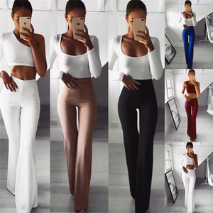 Donne Palazzo svasati pantaloni solidi di colore Pantaloni a vita alta delle signore di OL lunga carriera Pantaloni Moda Slim lunghi vestiti femminili di design pantaloni della tuta