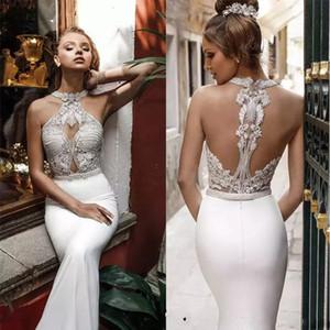 Julie Vino Bridal Halter Neck Embellished Bodice Mermaid Wedding Dress Sleeveless Beach Satin Bridal Dresses Vestido De Novia