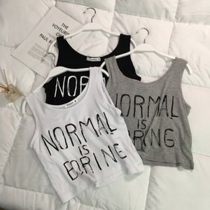 Factory direct vest female summer bf students wear short loose sports sleeveless condole top with navel letters
