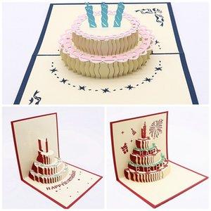 3D Stereoscopic Cake Greeting Card Carta manuale Carving Cards di congratulazioni Scava fuori i bambini Regalo di compleanno Colorato 3 5lz C1