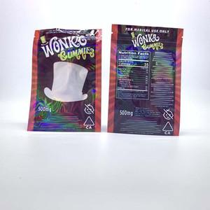 Wonka gummies Mylar Çanta 500mg Edibles Şeker Çerezler Zip Kilit Dayanıklı Depolama Perakende Plastik Torbalar Ambalaj kokla