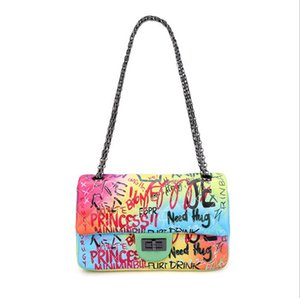 Fräulein Regenschirm Handtasche Graffiti Süßigkeiten Farbe Handtaschen Geldbeutel der Qualitätsdamen Schulterbeutel Umhängetasche Abendtaschen freies Verschiffen