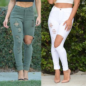 Sexy Mulheres Denim Pants Buraco estiramento afligido Jeans calças compridas Wash Jeans